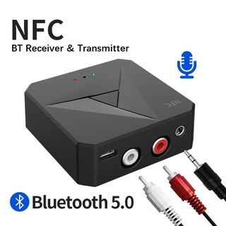 M21 5.0 ตัวรับสัญญาณบลูทู ธ and BT Transmitter Audio Music Stereo Wireless Adapter Support NFC 3.5MM AUX Jack for All Bluetooth Audio Devices