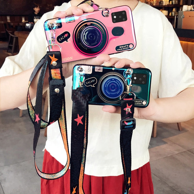 Camera Silicone Cover Samsung Galaxy S20 Ultra S10 9 8 Plus S10E With Strap Stand Case Samsung Galaxy Note 9 10 Pro A6EY