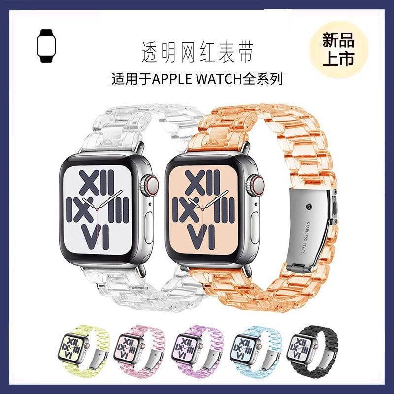 ↂ□ใช้ได้กับ Apple Watch ที่มีสายนาฬิกา iwatch applewatch6 / 5 SE เรซิ่นใสสายทนต่อการสึกหรอ