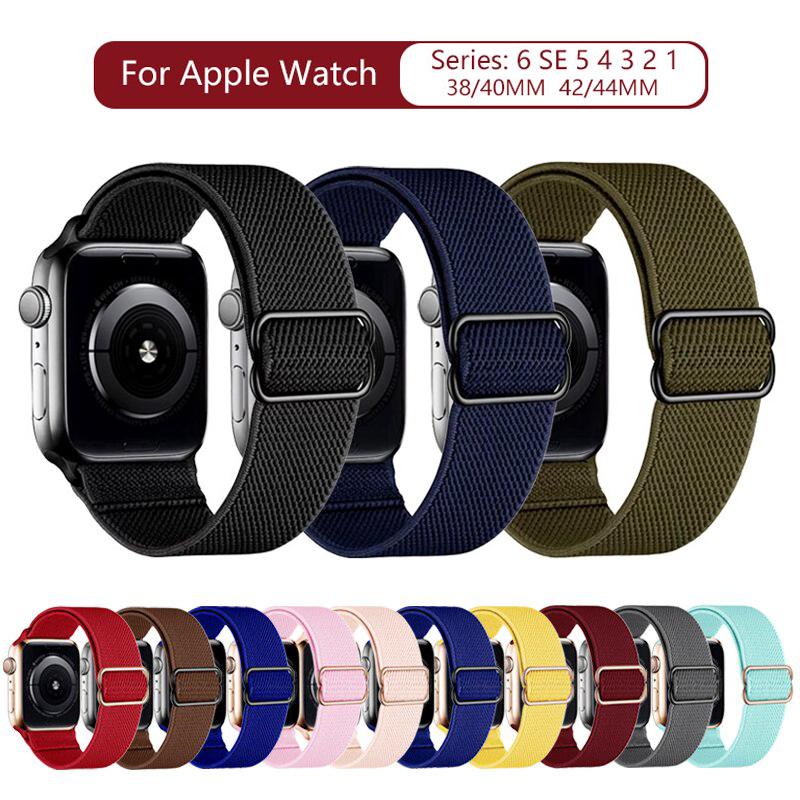 สายนาฬิกาข้อมือไนล่อนสําหรับ Apple Watch Band 6 Se 5 4 3 2 Braid สําหรับ Iwatch Series 38 มม . 40 มม . 42 มม . 44 มม .