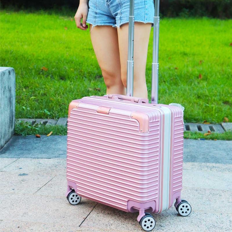 กระเป๋าเดินทางขนาด 18 นิ้ว โครงอะลูมิเนียม อลูมิเนียม วัสดุ ABS+PC