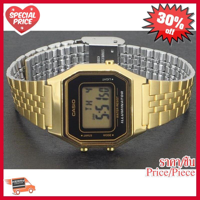 NEW!! ## Casio นาฬิกาข้อมือ สายสแตนเลส สีทอง เรโทร รุ่น LA68WGA-1 [*สินค้ารายการนี้มีตัวเลือก* ทักแชทก่อนซื้อนะคะ]➡️ตัวเ