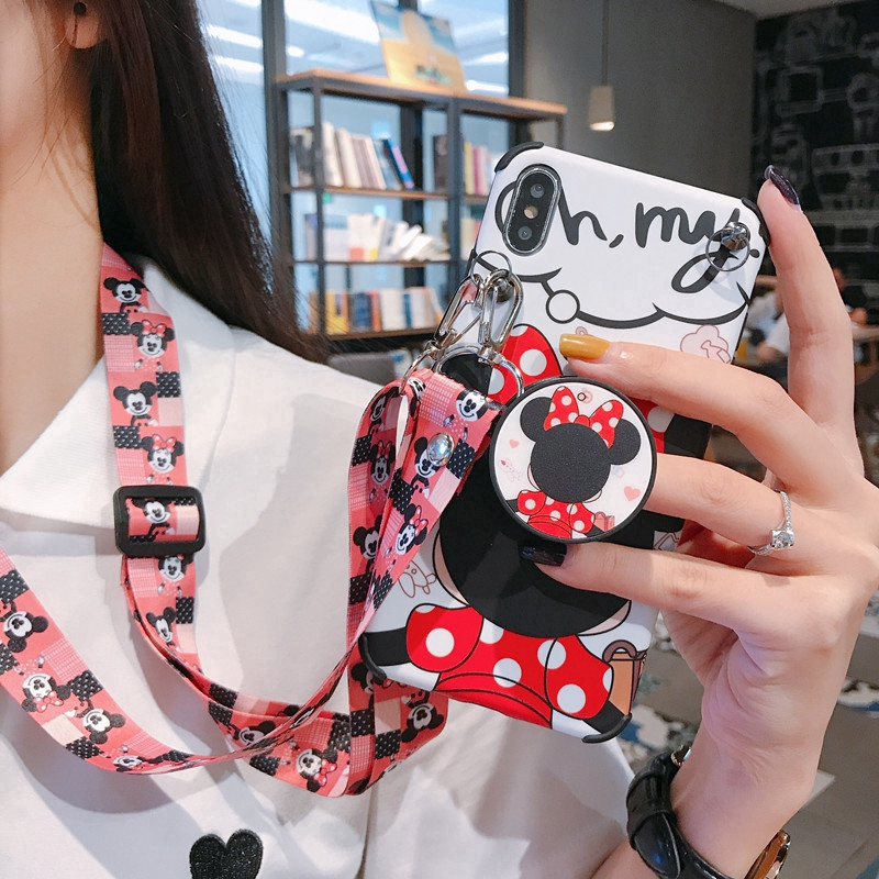 With Lanyard Minnie Cartoon Shockproof Case IPhone X XS Max IPhone 6 6S 7 8 Plus Gasbag Stand