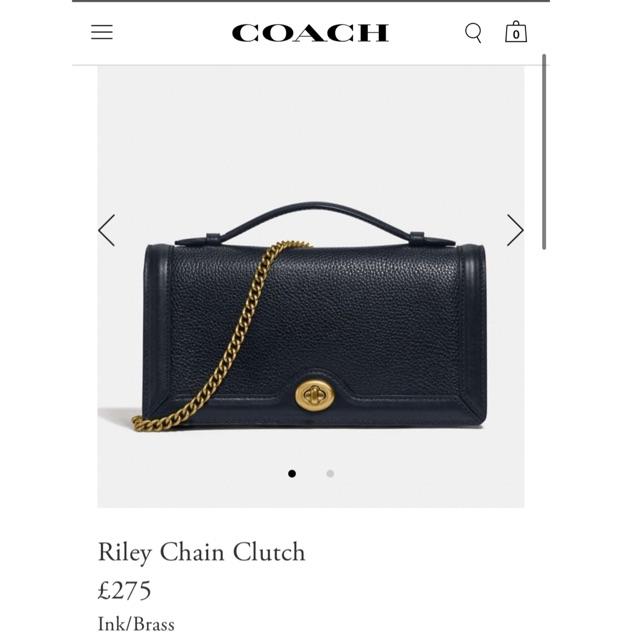 Coach INK Riley Clutch Chain pebble leather bag 69969 กระเป๋าถือคลัชของโค้ช สายสะพายข้าง สะพายไหล่ shop สีน้ำเงินกรมท่า