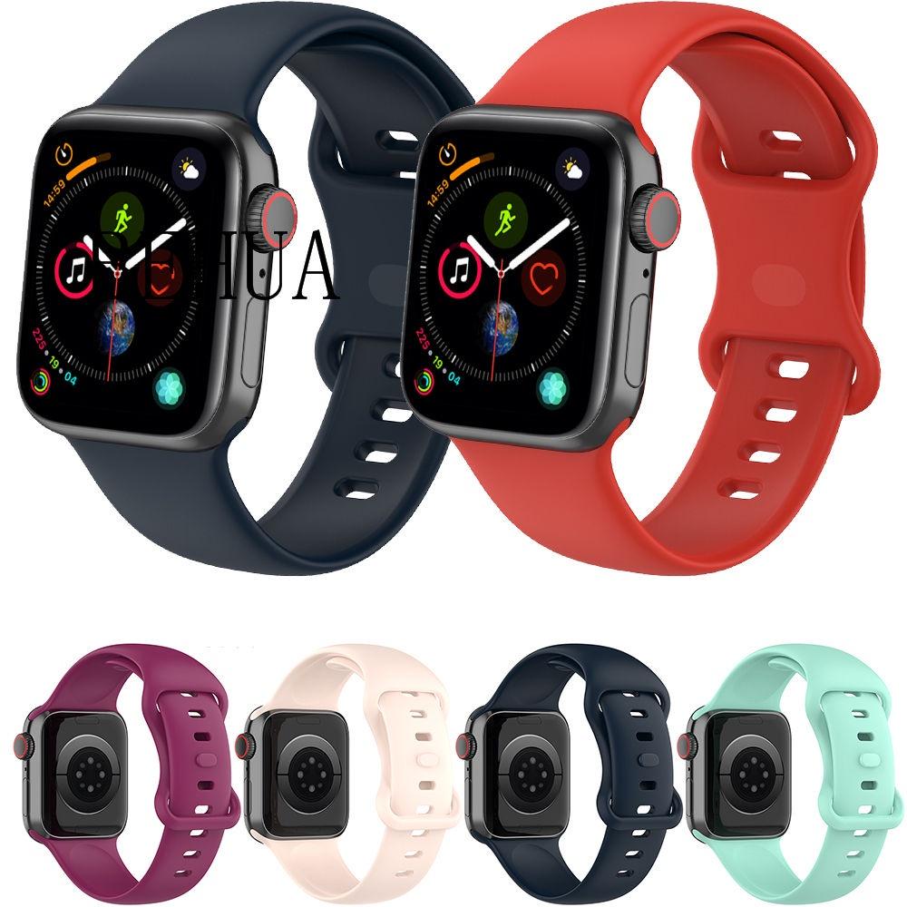 For Apple Watch 38mm 42mm 44mm 40mm Band For Apple Watch Strap iWatch 6 Series 6 SE 5 4 3 2 1 Sport Silicone Belt Bracelet Watch Band