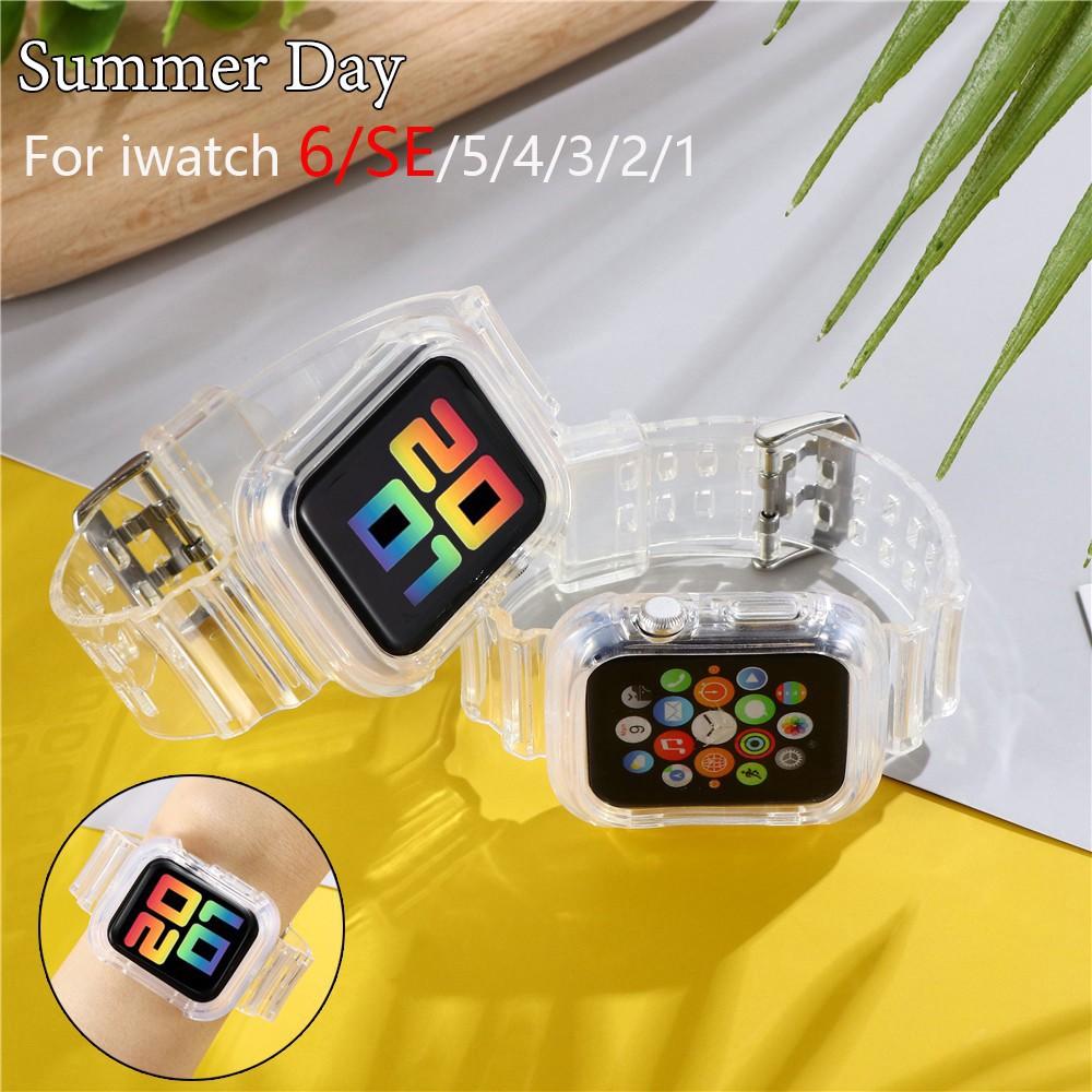 สาย applewatch สายนาฬิกา applewatch สายนาฬิกาข้อมือซิลิโคนสําหรับ Apple Watch Band Series 1 2 3 4 5 6 Se 5 4 สาย 38 มม .