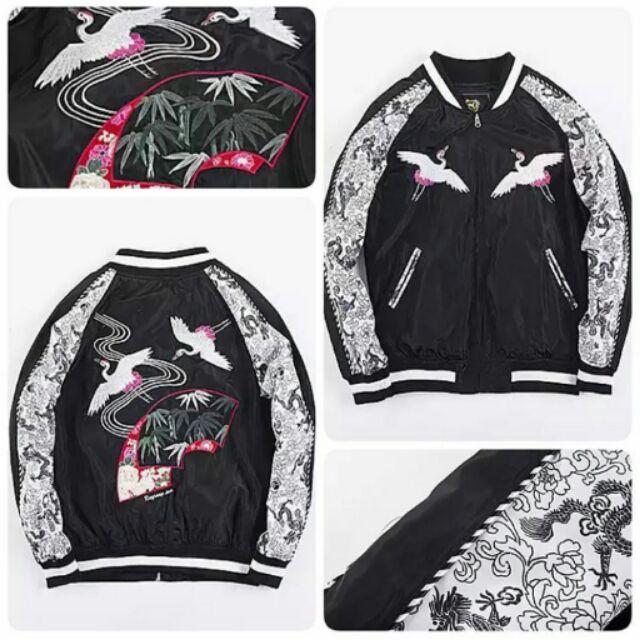 Sukajan jacket crane เสื้อสุกะจันแจกเกตงานปักสไตล์ญี่ปุ่น ลายนกกระเรียน แนวสตรีท
