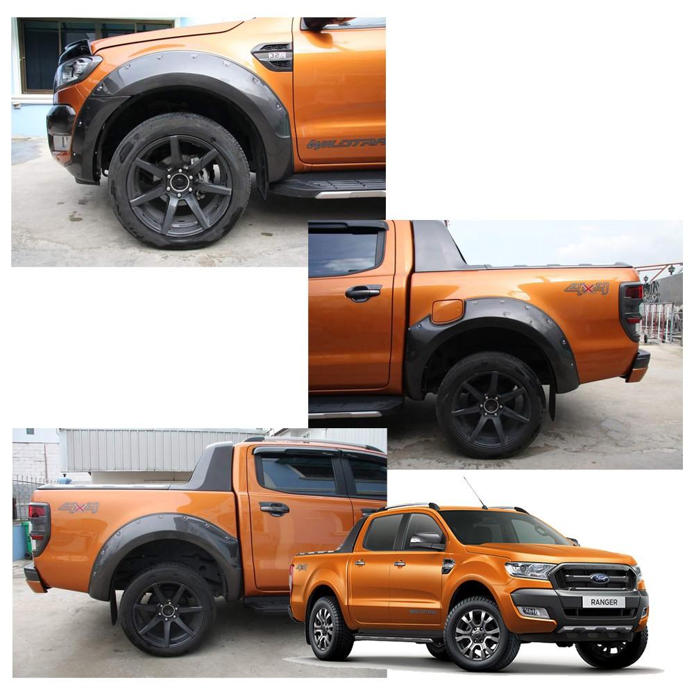 คิ้วล้อหมุดใหญ่ รุ่น 4ประตู 9นิ้ว สีเทาไวแทค Ford Ranger T7 Double Cab Wildtrak XLT 4x2 4x4 ปี 2015-2018
