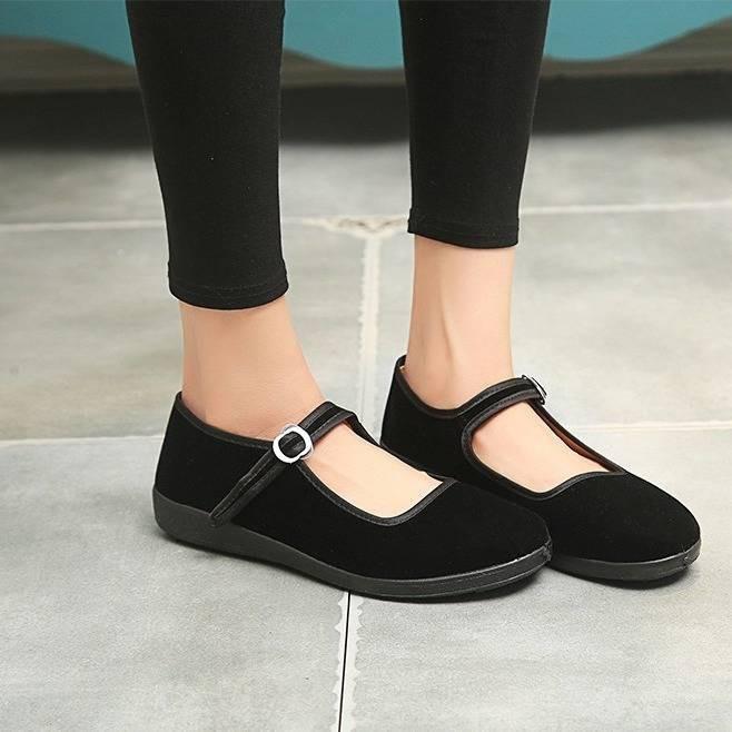 รองเท้าคัชชู ✣เรื่องเล็กพื้นหนารองเท้าผ้าปักกิ่งเก่ารองเท้าผู้หญิงสีดำรองเท้าทำงานนุ่มลื่นรองเท้าโรงแรมสแควร์รองเท้าเต้น