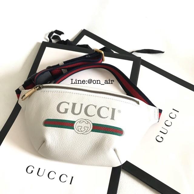 กระเป๋าคาดอก New gucci small leather belt bag white กระเป๋าคาดอกผู้ชาย  กระเป๋าคาดอกผู้หญิง