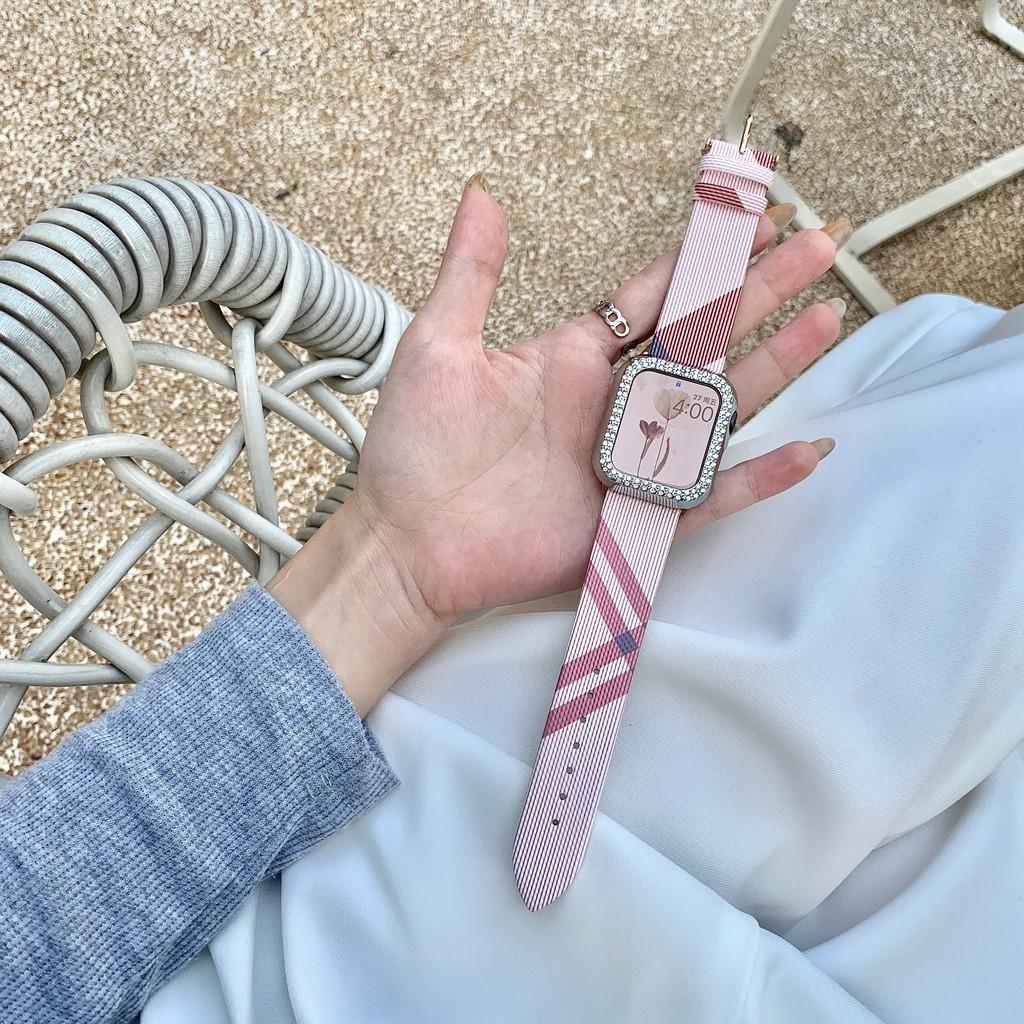 เคสนาฬิกา applewatch适用于苹果手表秋冬新款真皮简约格子iwatch6/5/4/3/2/1สายSEหญิงapplewatch