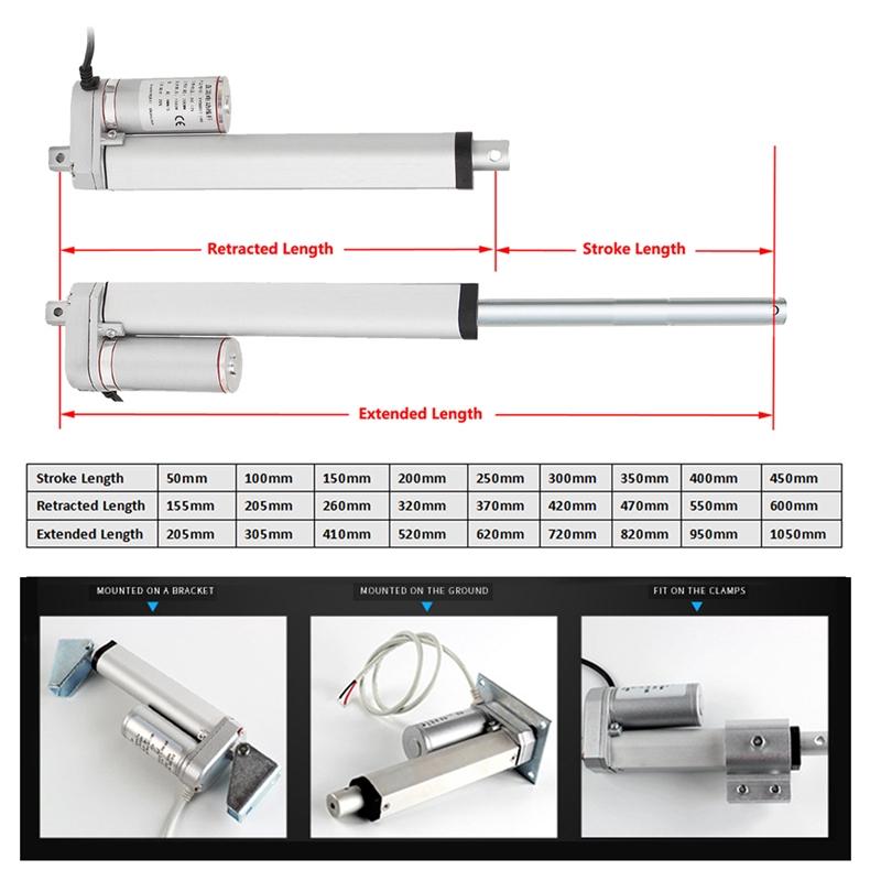 Linear Actuator Motor 12V24V 750N Stroke 50 100 400 500mm For Medical Devices