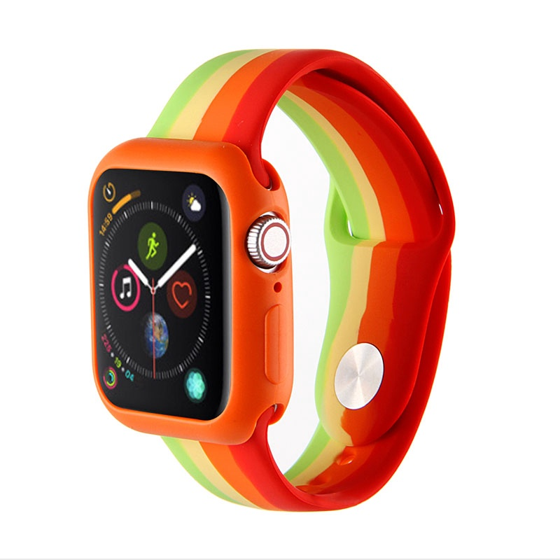 สาย applewatch สายนาฬิกา applewatch Apple Watch Band for Series 6 SE 5 4 3 2 1Watchband 38 40 42 44 mm Soft Silicone Cre