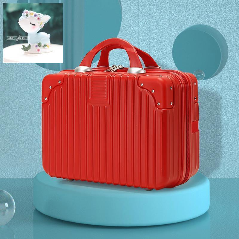 กระเป๋าเดินทาง 14 นิ้วกระเป๋าเครื่องสำอางกระเป๋าเดินทางขนาดเล็กกระเป๋าเดินทางหนังน้ำหนักเบาหญิง 16 นิ้วกล่องเก็บมินิอีส