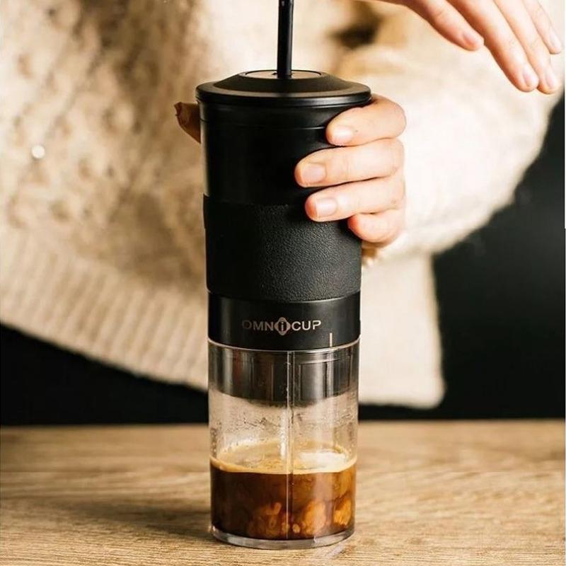เครื่องทำกาแฟOMNICUP เครื่องชงกาแฟแคปซูลแบบมือกดแบบพกพาเครื่องชงกาแฟขนาดเล็กพิเศษมินิโฮมคู่มือเข้มข้น