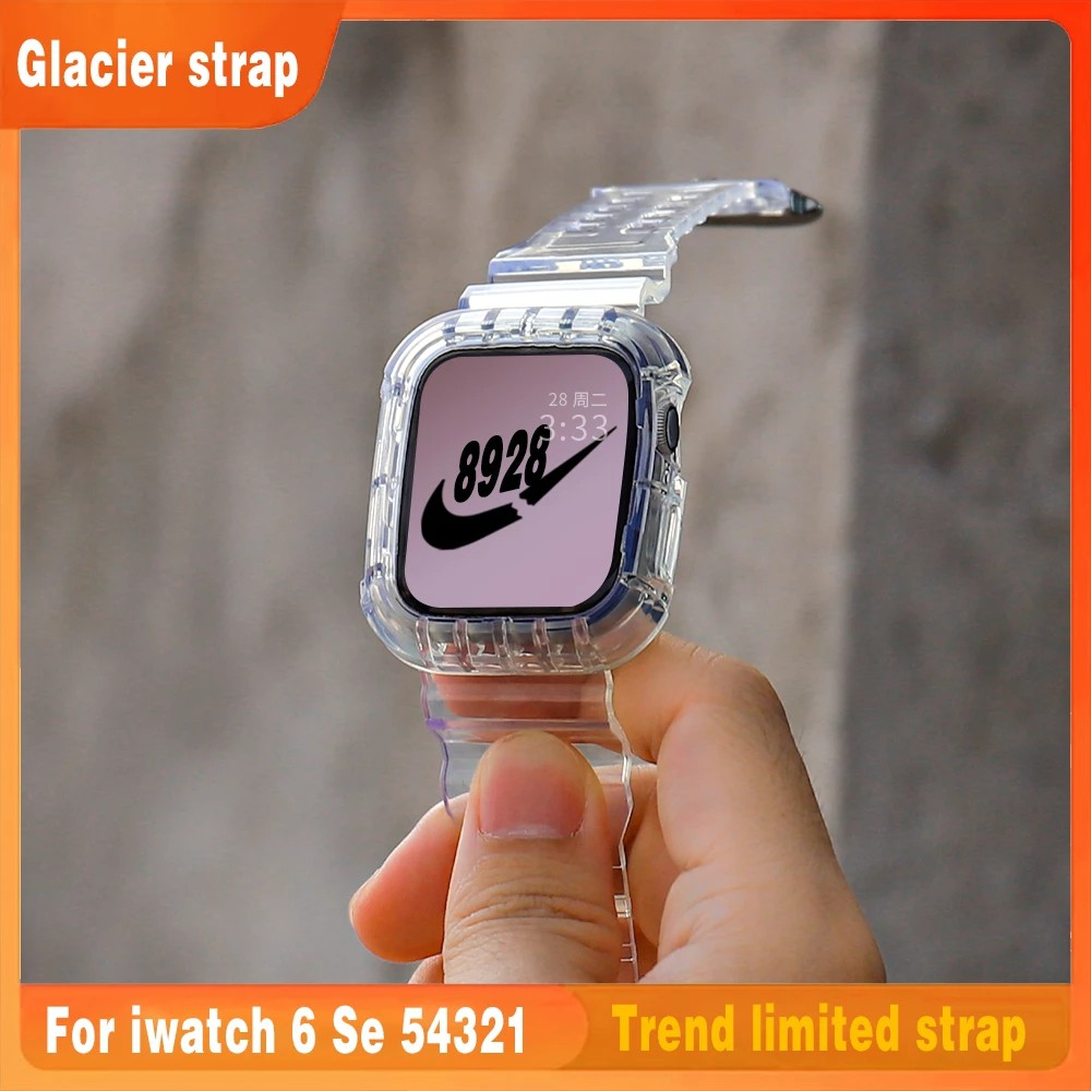 Ready StockClear Soft Silicone Sport Watch Strap For Apple Watch Band Series 6 SE 5 4 3 2 1 Transparent Silicone Strap F