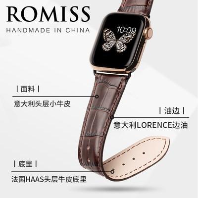 ≧ヮสายรัดสายหนังวัวลายจระเข้อิตาลีสำหรับ iWatch applewatch s/applewatch s/applewatch รุ่น4/5สายนาฬิกาข้อมือหนังแท้สำหรับผ