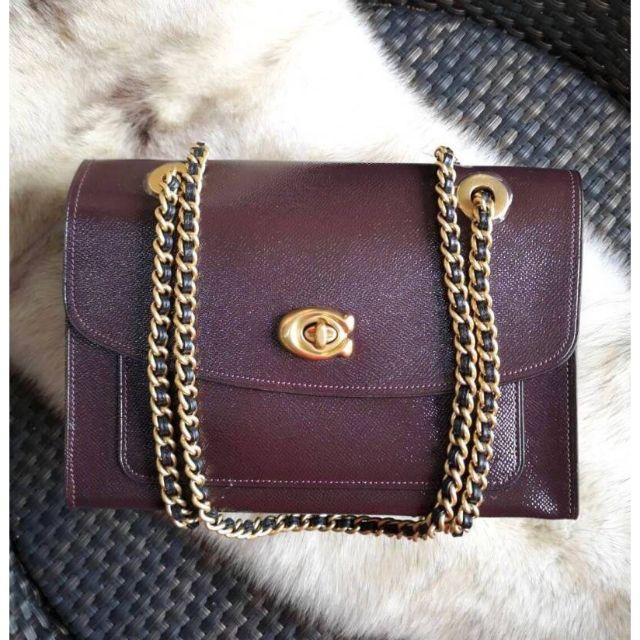 กระเป๋าสะพายสีแดงเข้ม Coach Shop มีถุงผ้า สี oxblood สายปรับใช้ได้ 2 แบบ COACH Parker Shoulder Bag in Patent Leather