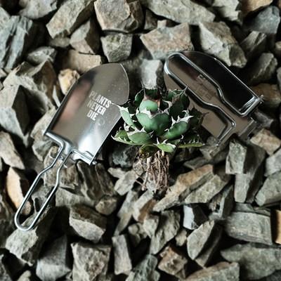 ≓☣Pnd ดั้งเดิมพืชรากไม้พับสแตนเลสไม้กระถางไม้อวบน้ำเครื่องมือทำสวนแบบพกพาพลั่วขุดพลั่วจิ๋วพลั่วเดินป่า