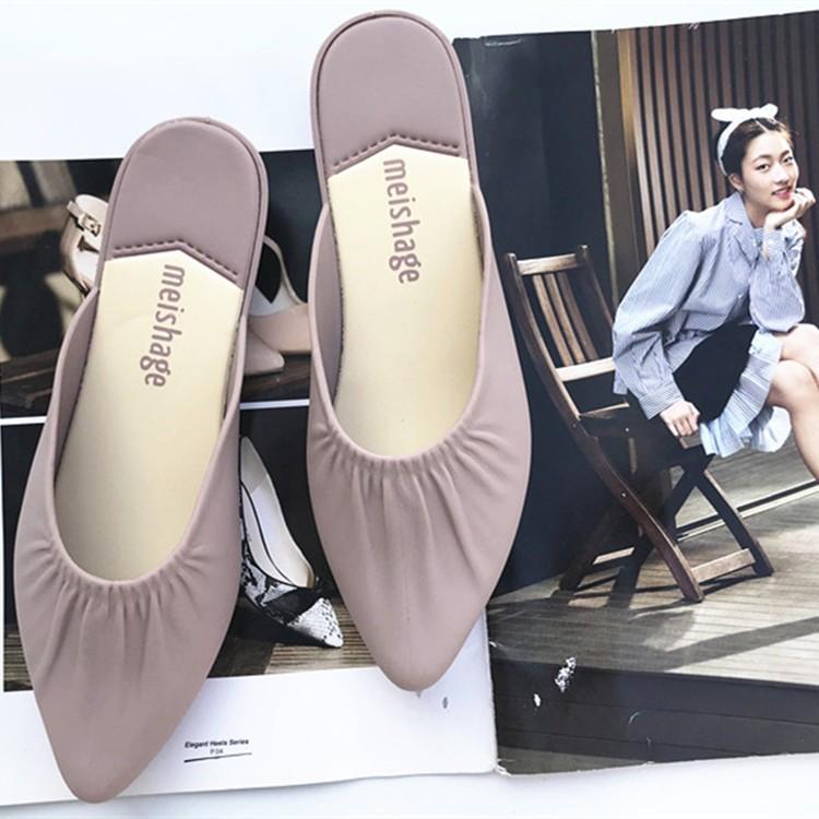 รองเท้าคัชชู รองเท้า แฟชั่น 💗รองเท้าส้นแบนหัวแหลม รองเท้าแตะแบบสวม รองเท้าผู้หญิง รองเท้าส้นแบน รุ่นหัวแหลมแต่งจีบ