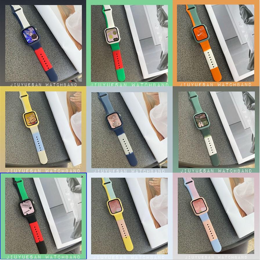 สายรัดสายรุ้ง + เคส PC + ฟิล์มนิรภัย AppleWatch Strap สายซิลิโคน iWatch Series SE 6 5 4 3 2 1สาย applewatch38 40 42 44mm