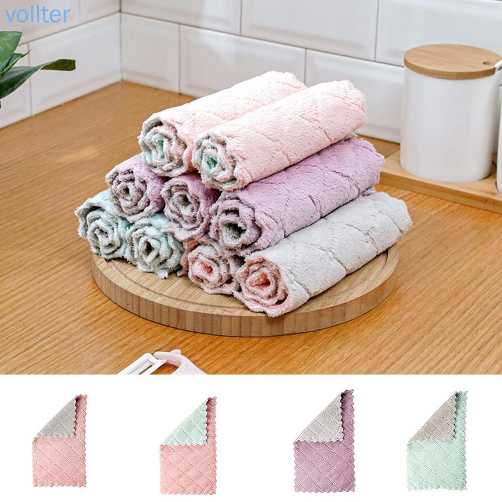 คู่สีผ้าเช็ดจานการดูดซับน้ำหนาหม้อซักผ้าผ้าขนหนูโต๊ะหน้าแรกผ้าเช็ดจาน