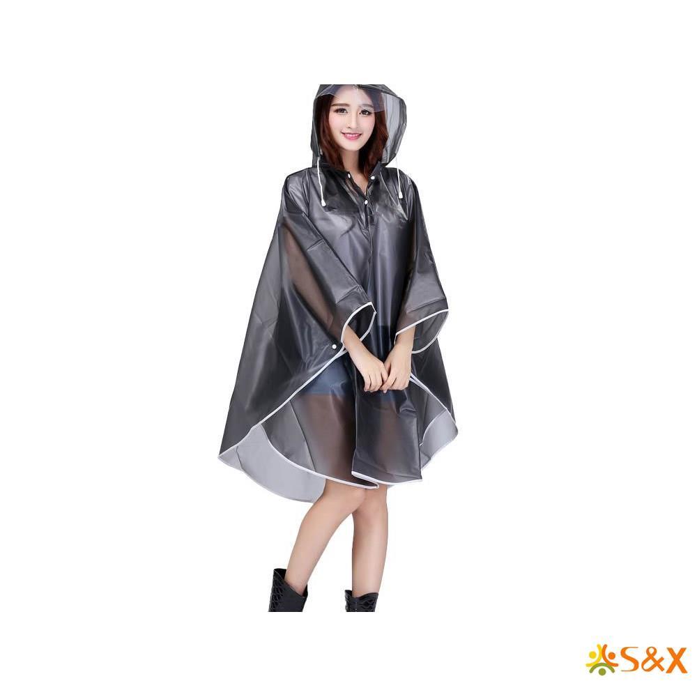 Transparent Raincoat EVA Outdoor Camping Hiking Durable Hooded Rain Coat Jacket