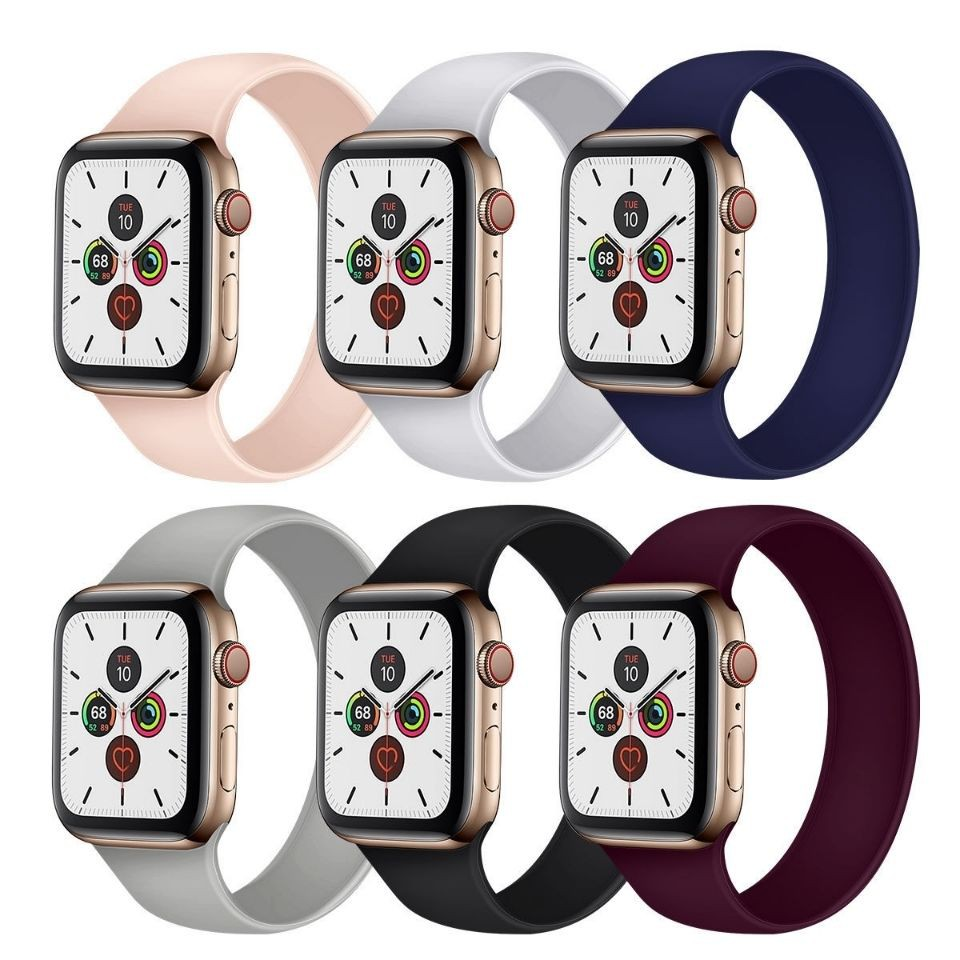 สาย applewatch Suitable for iwatchSE elastic strap Apple watch Applewatch 1/2/3/4/5/6 generation integrated silicone