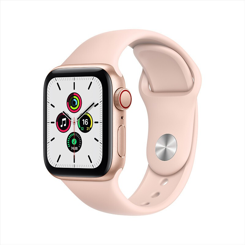 Apple Watch SE Smart Watch GPS+Honeycomb 40mm Gold Aluminum Metal Case Pink & Frosted-Color Sports StrapMYEH2CH/A