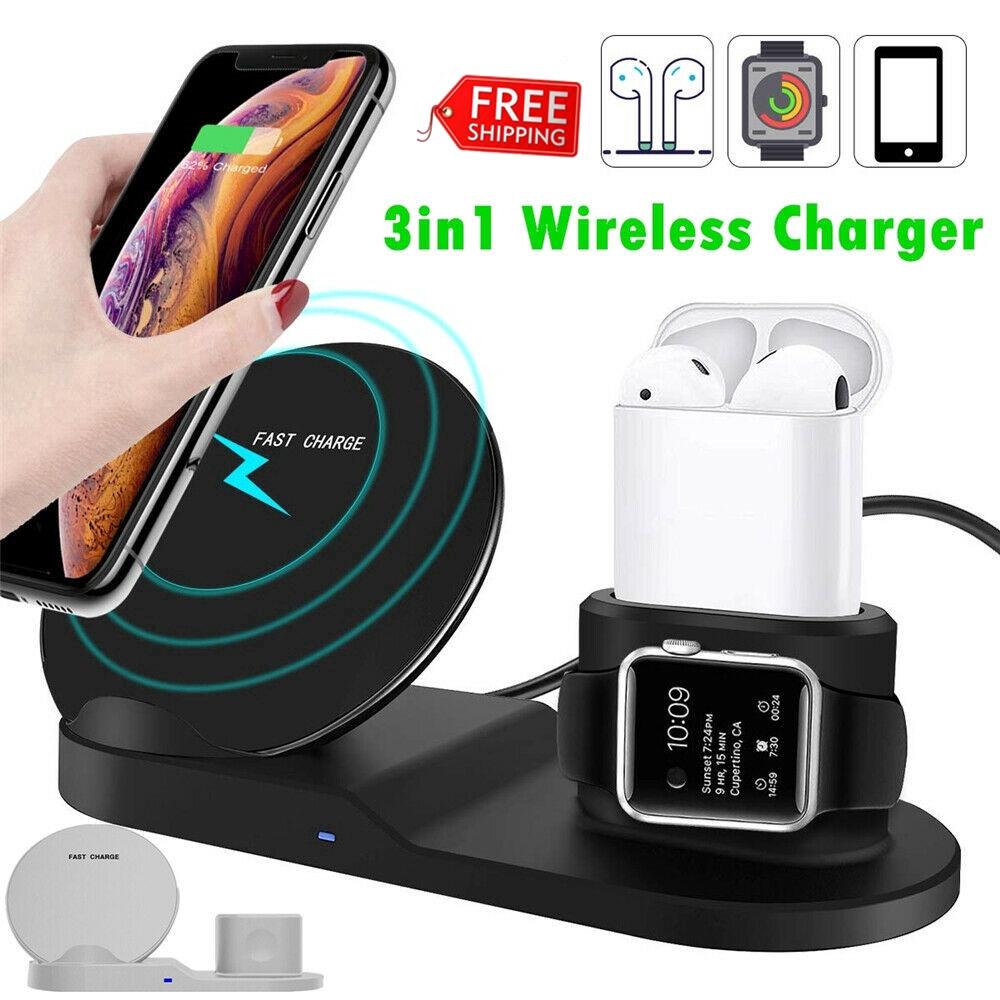 แท่นชาร์จ 3 in 1 สําหรับ apple watch airpods iphone series wireless qi charger
