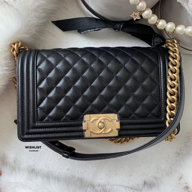 """Like New Chanel Boy 10"""" Caviar GHW Holo28 Full Set"""