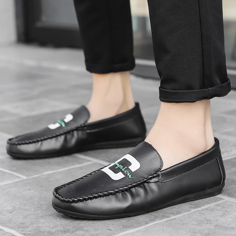 รองเท้าหนังแบบสวม รองเท้าหนัง รองเท้าคัชชูสีดำ รองเท้าผู้ชาย slip ons
