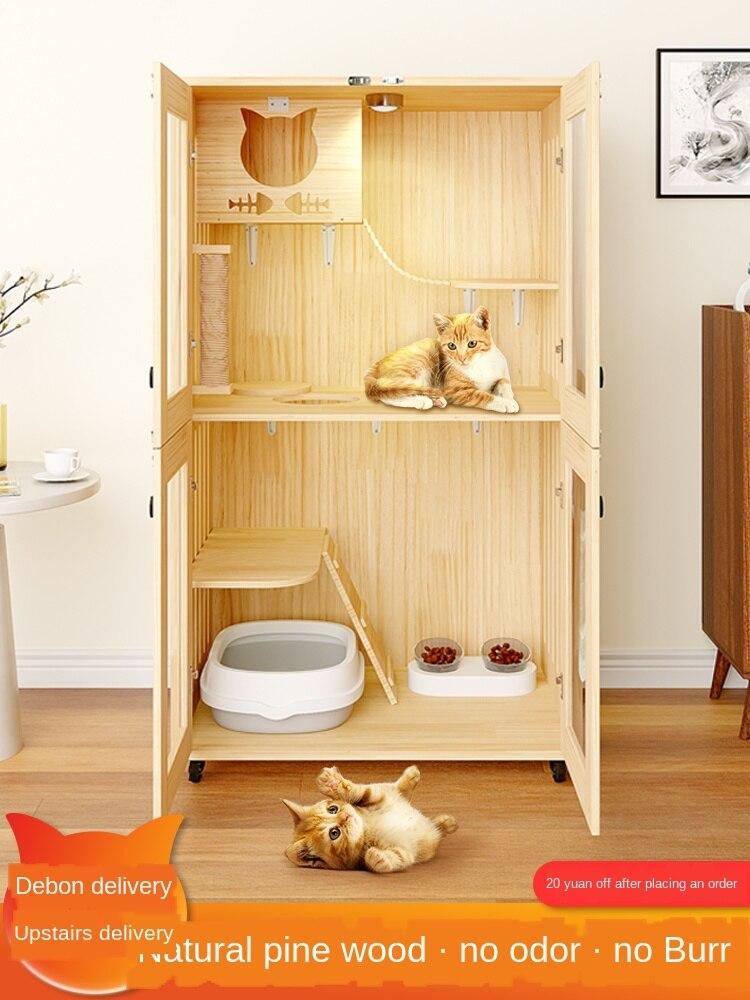 แมววิลล่าแมวกรงไม้เนื้อแข็งบ้านพาร์ทเมนท์แมวบ้านแมวแมวบ้านแมวบ้านตู้หรูหราขนาดใหญ่สุด