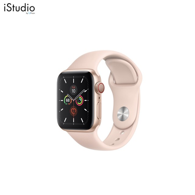 ☬◙✾Apple Watch Series 5 Gold Aluminum Case with Pink Sand Sport Band ; iStudio by UFicon