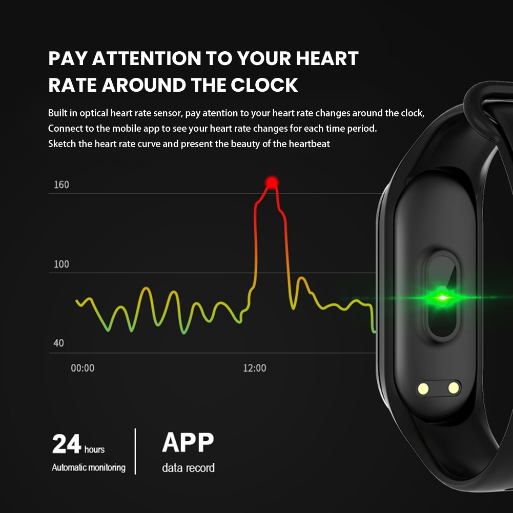 M4 Bluetooth Smart Sport Bracelet Watch Heart Rate Monitor Fitness Tracker  Swimming Waterproof Wristband