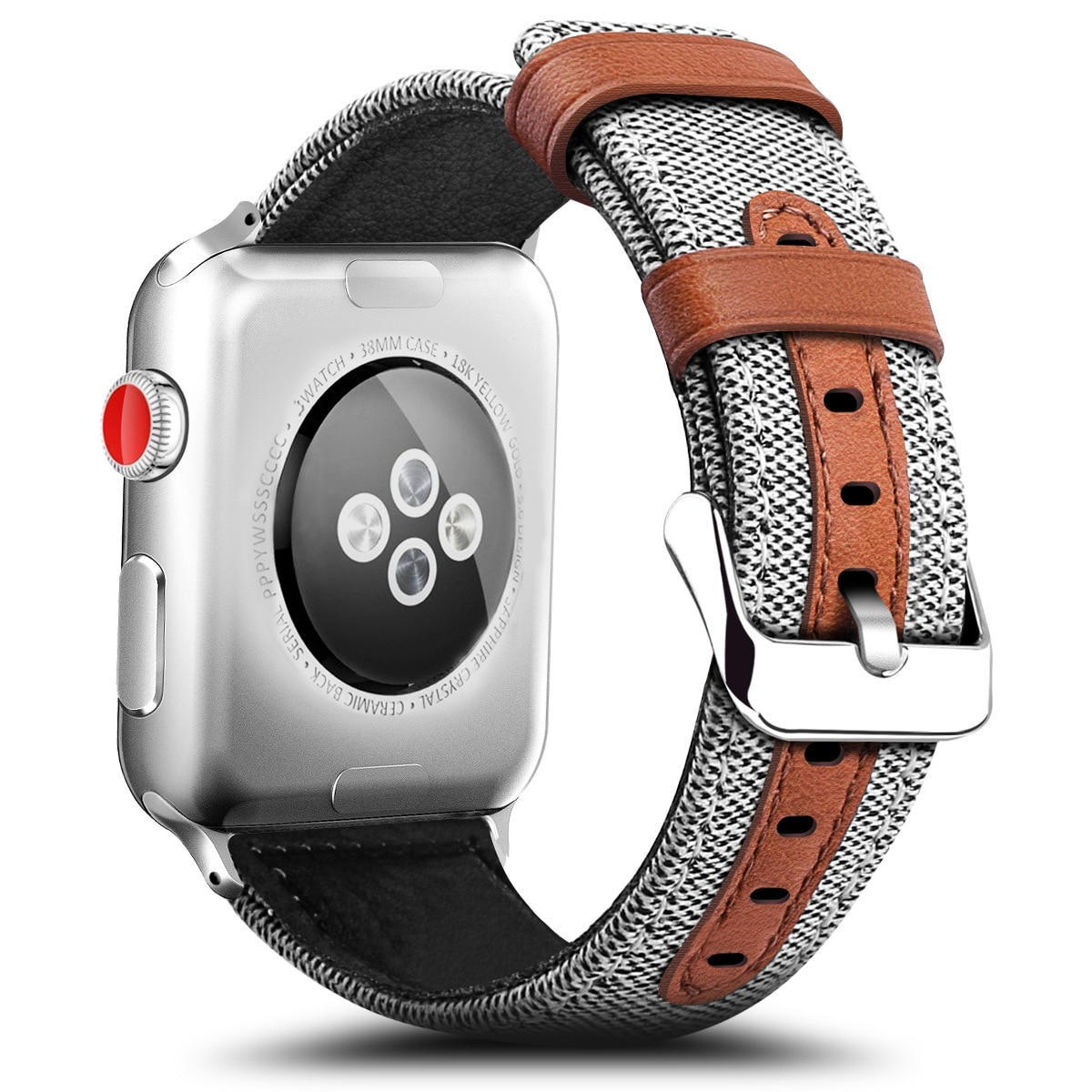 Fashion Fabric and Leather Band for Apple Watch 38mm 42mm Bracelet for Apple iWatch 40mm 44mm Series 3 4 5 6 SE Strap Wa