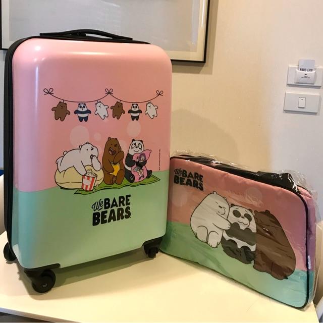 กระเป๋าเดินทางล้อลาก สามหมีจอมป่วนลิขสิทธ์แท้ We Bare Bears 20 นิ้ว **แถมฟรีกระเป๋าถือ