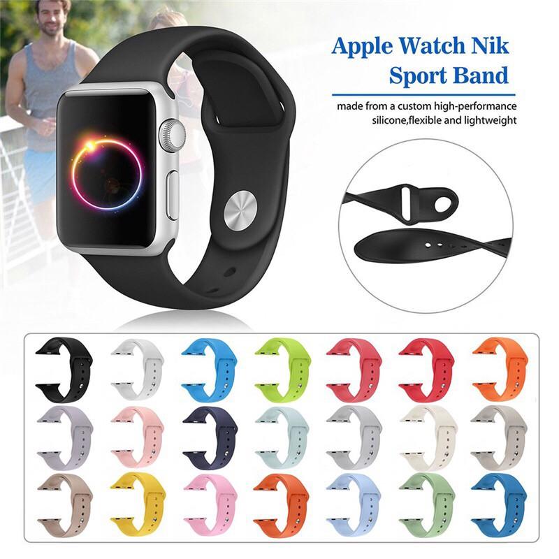 สายนาฬิกาข้อมือสายนาฬิกาข้อมือซิลิโคน Apple Watch Band 42 มม . 44 มม . S / M / L สําหรับ Iwatch Series SE2020 6 / 5 / 4 / 3 / 2 / 1