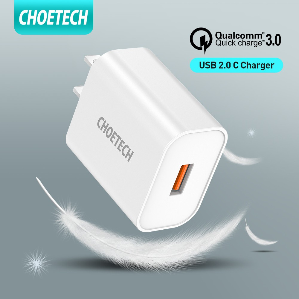 CHOETECH QC 3.0 Fast Charging Charger 18W Wall Charger with Type C Micro USB Lightning Fast Charging Cable BDFi