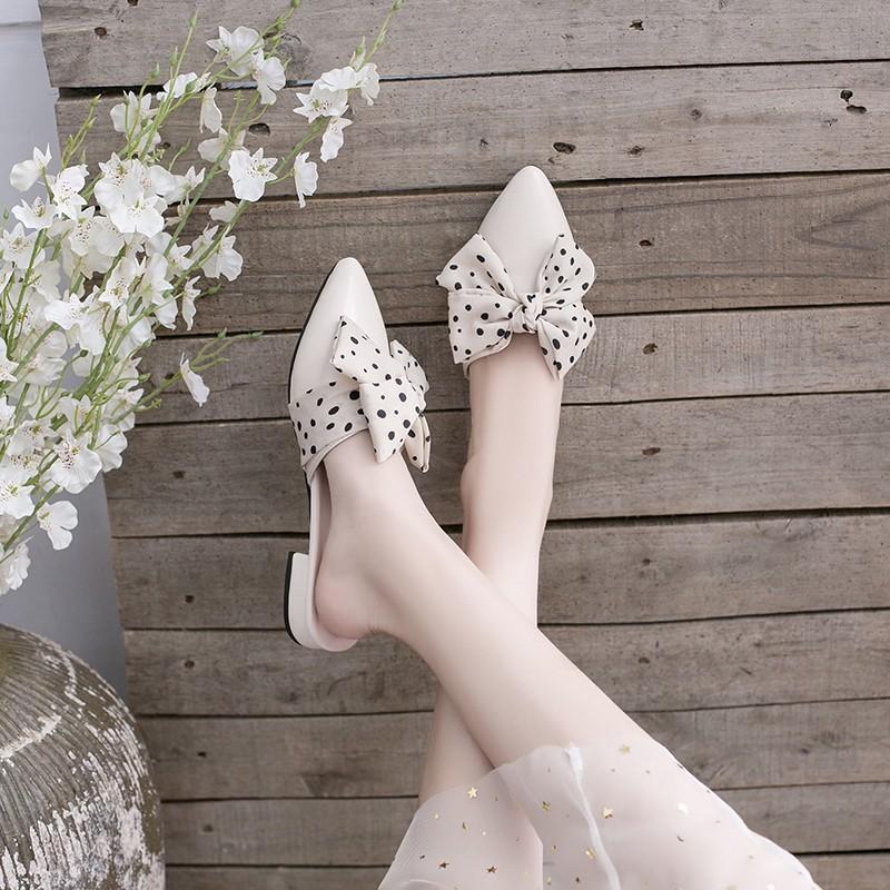 รองเท้าคัชชู หัวแหลม รองเท้าผู้หญิงเปิดส้น รองเท้าส้นแบน⭐️รองเท้าผู้หญิงเปิดส้น รองเท้าแตะแฟชั่น, รองเท้าแตะครึ่งผู้หญิง