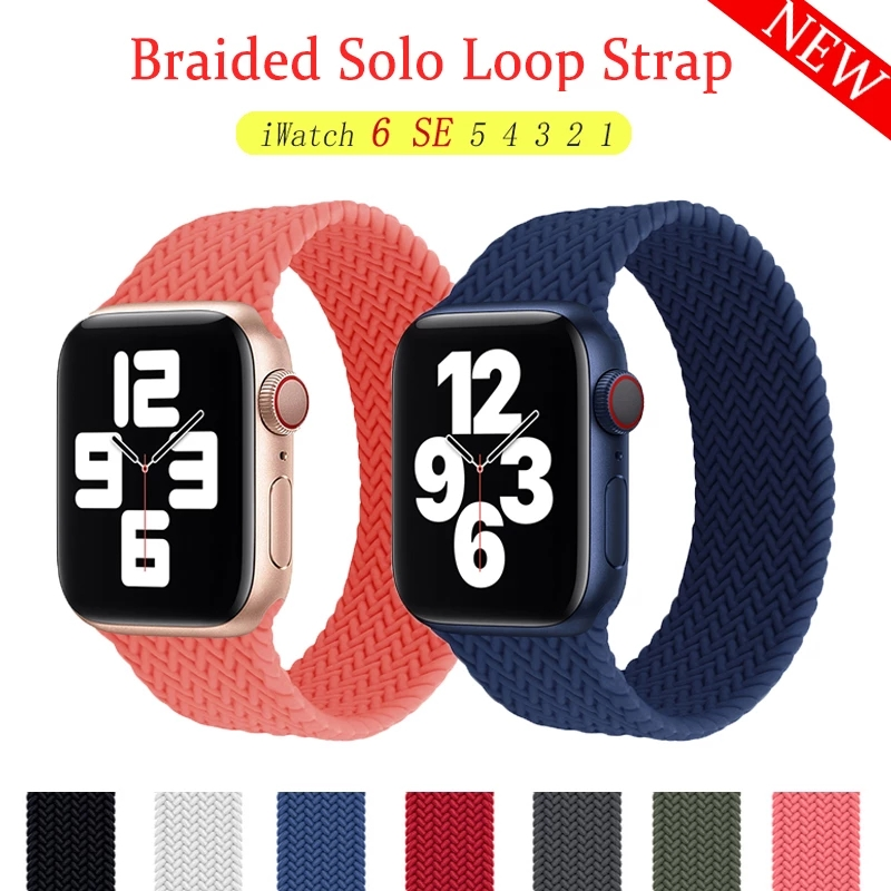 Strap For Apple watch 6 band iWatch series SE 5 4 3 38mm 42mm Sport wristband Silicone Solo Loop Apple watch band 44mm 40mm