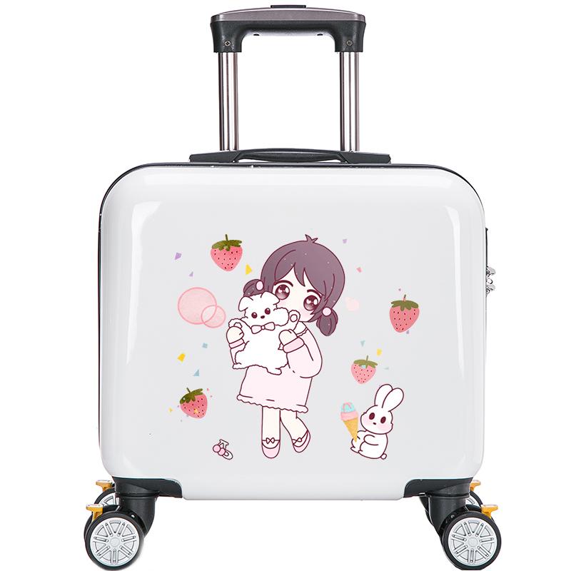 ✴✿ กระเป๋าเดินทางล้อลาก กระเป๋าเดินทางล้อลากใบเล็กกรณีรถเข็นเพลย์บอยเด็กกระเป๋าผู้หญิงน่ารักการ์ตูนขนาดเล็กกรณีรถเข็นชุด