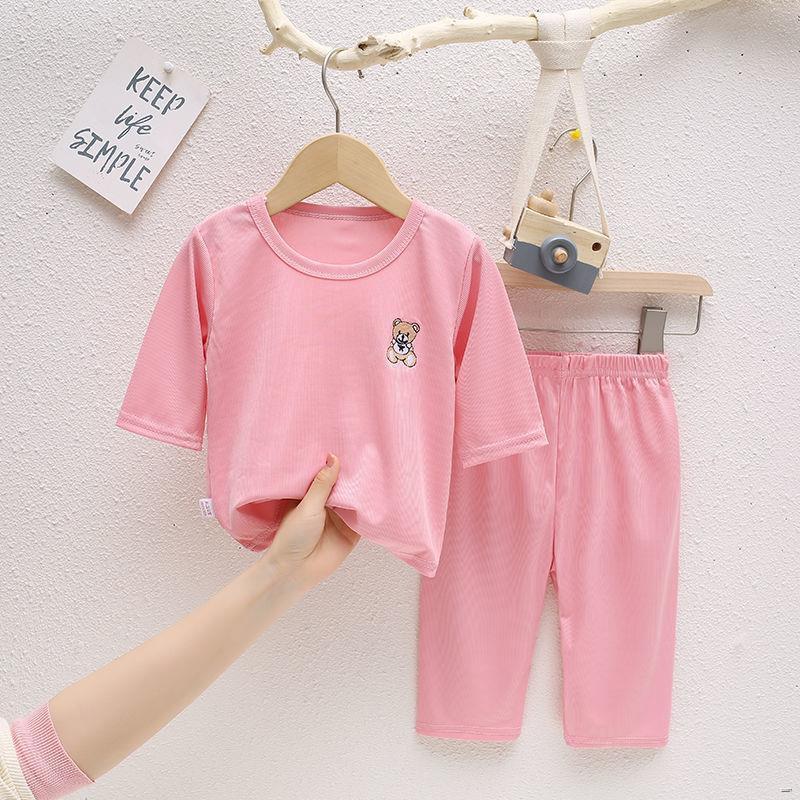 ยางยืดออกกําลังกาย卐❇(ชุดเด็ก)  2021 ชุดนอนเด็กใหม่ในช่วงฤดูร้อนสำหรับเด็กผู้ชายและเด็กผู้หญิงเสื้อผ้าบาง ๆ เด็กทารกเสื้