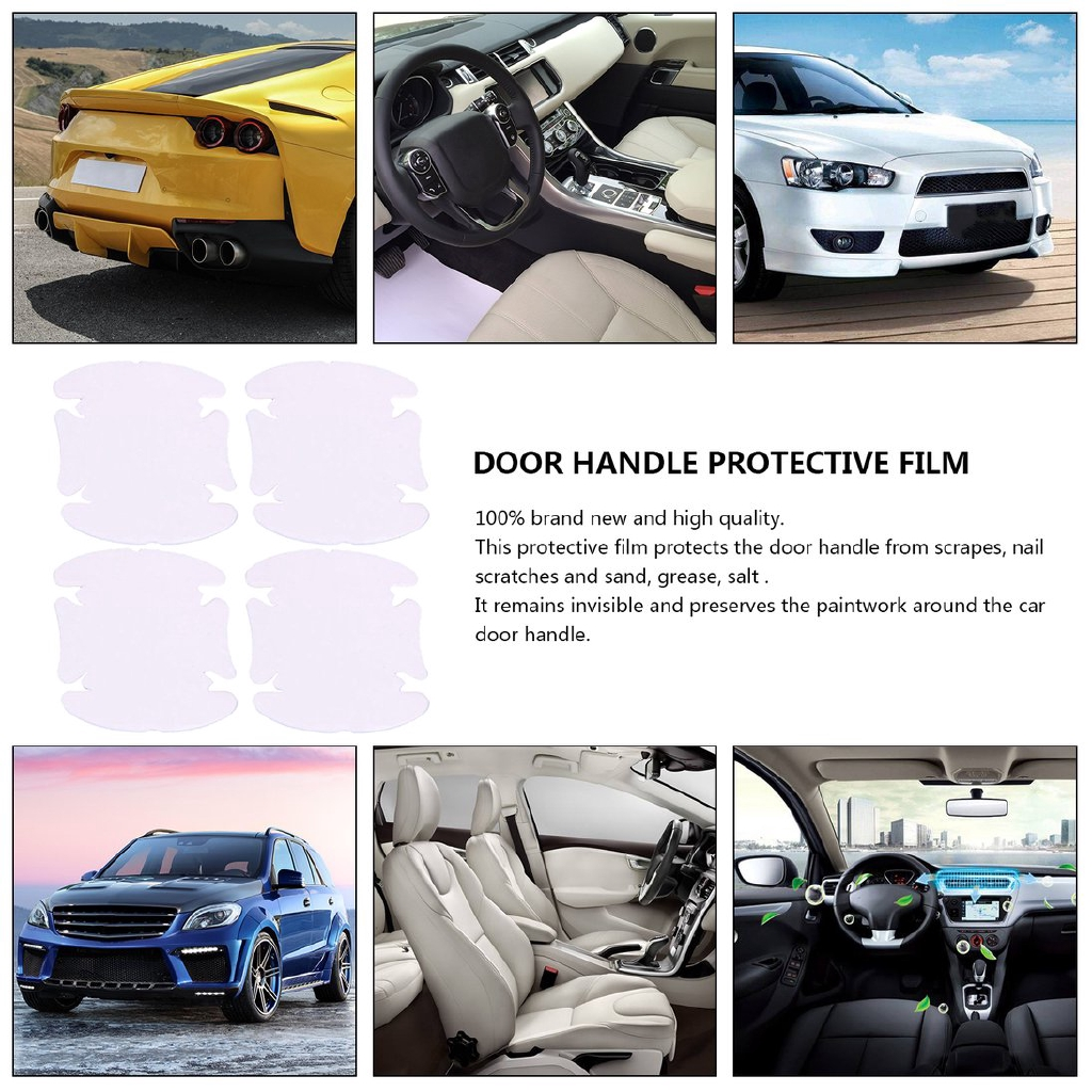 4X Clear Adhesive Car Auto SUV Door Handle Protective Film Scratch Sheet Sticker