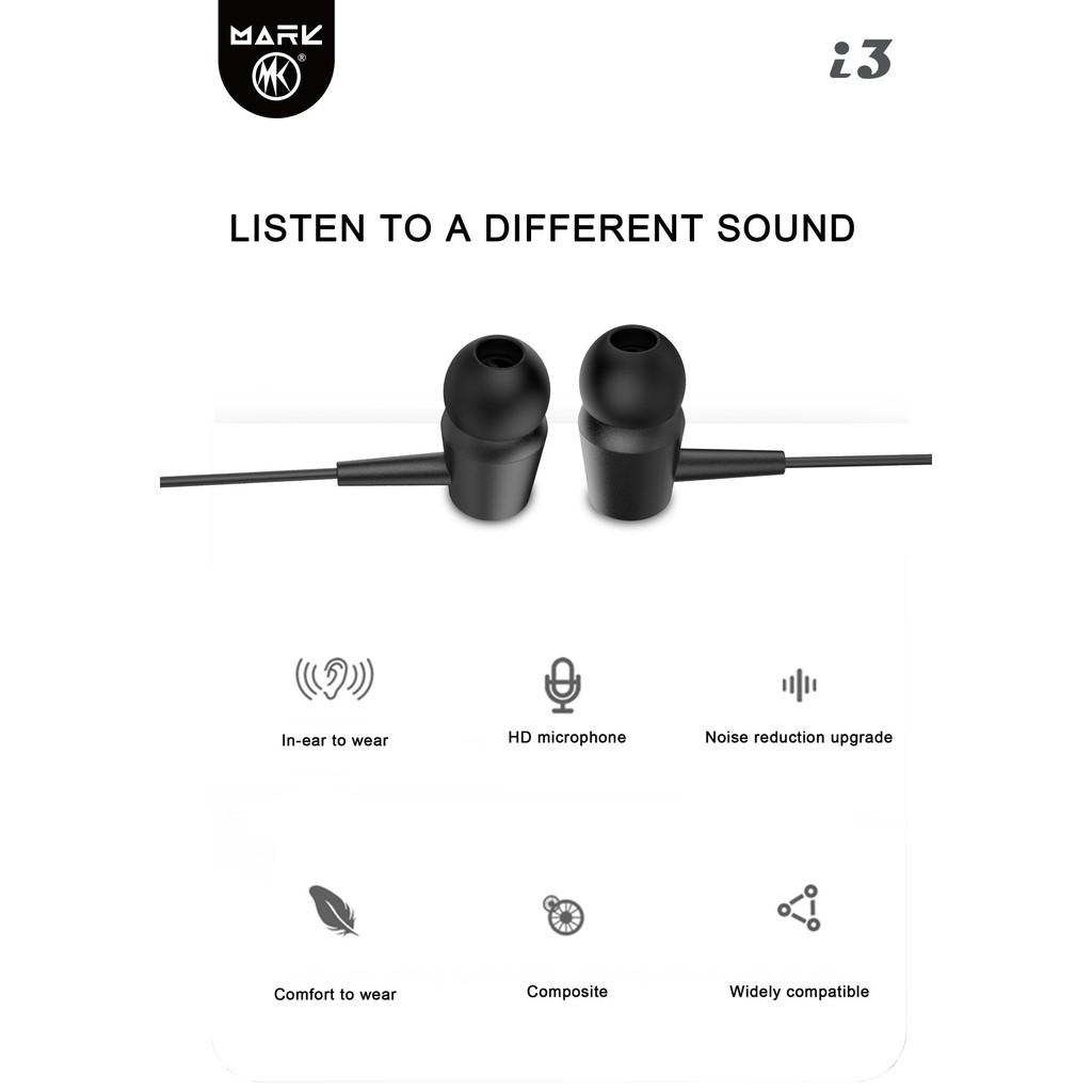 หูฟัง Mark รุ่น i3 หูฟังสเตอริโอ in-ear Wired Headset 3.5mm Earphones  หูฟังใช้สำหรับดูหนังฟังเพลง ออกกำลังกาย หรือคุยโทร | Shopee Thailand