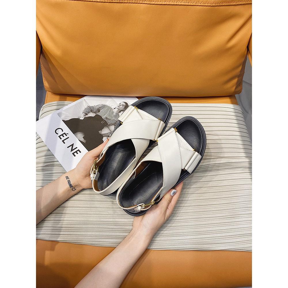 marniรองเท้าแตะผู้หญิงโรมันฤดูร้อน2021ปีใหม่นางฟ้าลมนักเรียนป่าเกาหลีหญิงรองเท้าแตะแฟชั่นหนาด้านล่าง