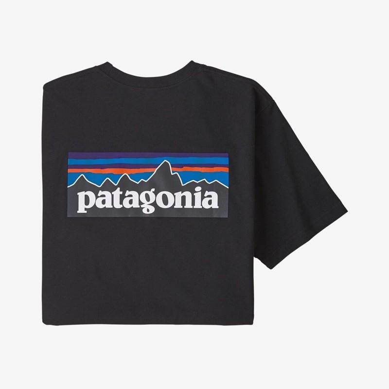 ของแท้ เสื้อยืด Patagonia P-6 Logo Responsibili-Tee สีดำ