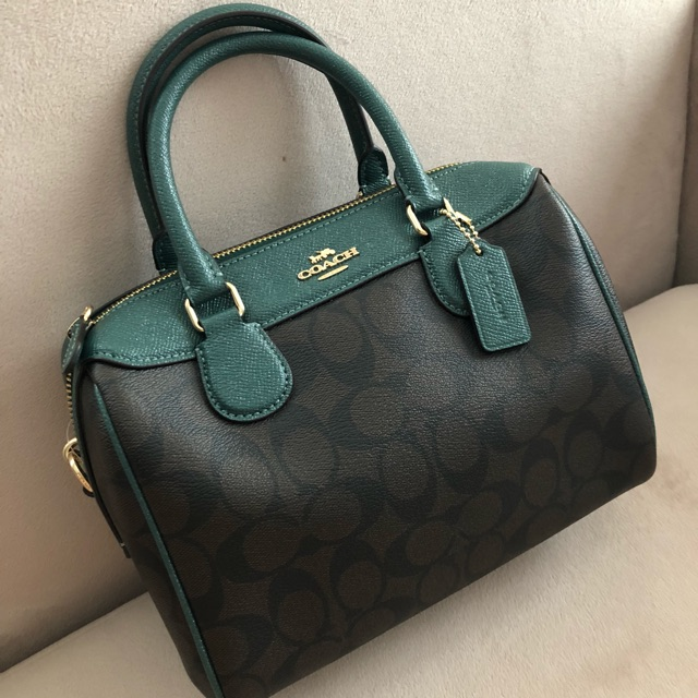 store mini bennett satchel in signature canvas coach f32193 brown dark turquoise light gold bb8e2 8fd47