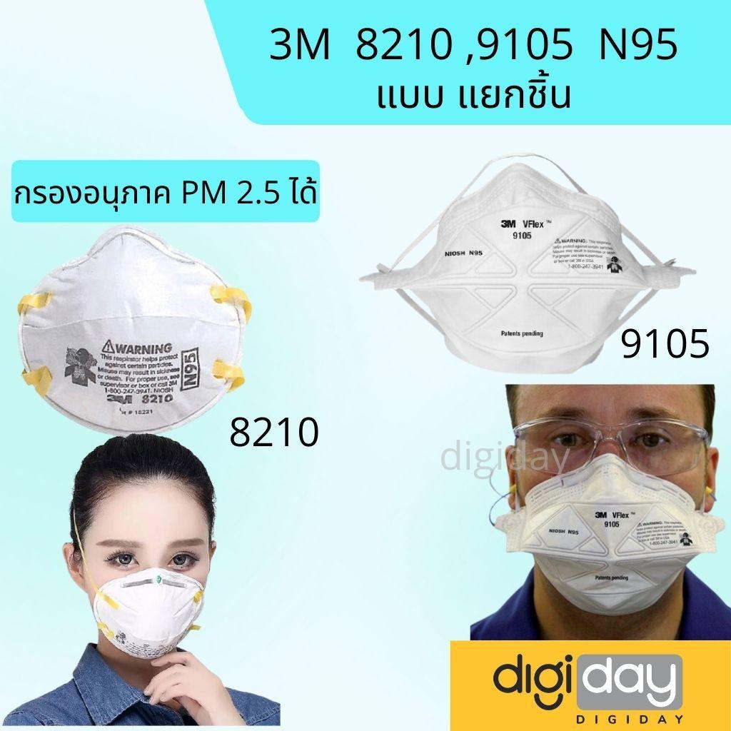 พร้อมส่ง 3M ของแท้ หน้ากากป้องกันฝุ่น 8210 ,9105 vflex N95