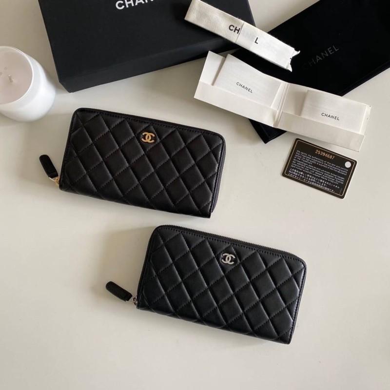Chanel Zippy Wallet Long Original Leather หนังแกะแท้นิ่มมาก สัมผัสที่ละมุนมือ หนังฟูสู้มือ